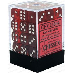 Chessex D6 Brick 12mm Translucide Dice (36) - Red