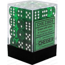 Chessex D6 Brick 12mm Translucide Dice (36) - Green