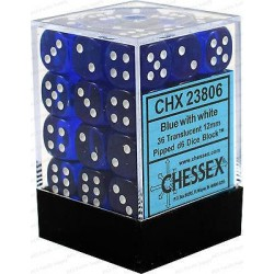 Chessex D6 Brick 12mm Translucide Dice (36) - Blue