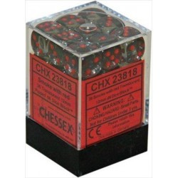 Chessex D6 Brick 12mm Translucide Dice (36) - Smoke / Red