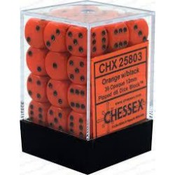 Chessex - D6 Brick 12mm Opaque Dice (36) - Orange / Black