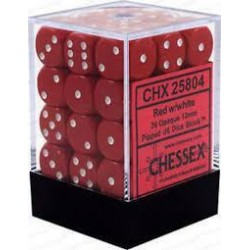 Chessex - D6 Brick 12mm Opaque Dice (36) - Red / White