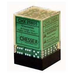 Chessex - D6 Brick 12mm Opaque Dice (36) - Green / White