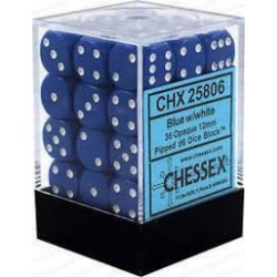 Chessex - D6 Brick 12mm Opaque Dice (36) - Blue / White