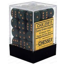 Chessex - D6 Brick 12mm Opaque Dice (36) - Dusty Green / Gold