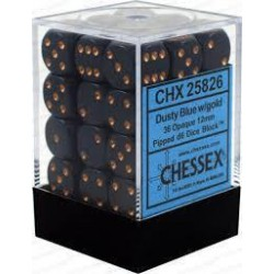 Chessex - D6 Brick 12mm Opaque Dice (36) - Dusty Blue / Gold