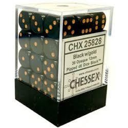 Chessex - D6 Brick 12mm Opaque Dice (36) - Black / Gold