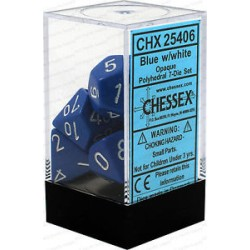 Chessex - Polyhedral 7-Die Set Opaque Dice (36) - Blue / White
