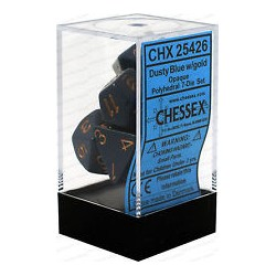 Chessex - Polyhedral 7-Die Set Opaque Dice (36) - Dusty Blue / Gold