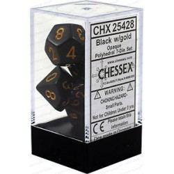 Chessex - Polyhedral 7-Die Set Opaque Dice (36) - Black / Gold