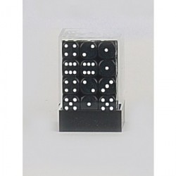 D6 Brick 12mm Opaque Dice (36) - Black