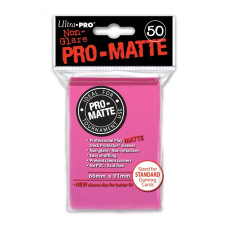 Ultra Pro - Pro-Matte Standard Deck Protectors 50ct Sleeves - Bright Pink