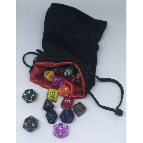 Big Velvet Bag o' Dice (12x20cm bag, 30 dice)