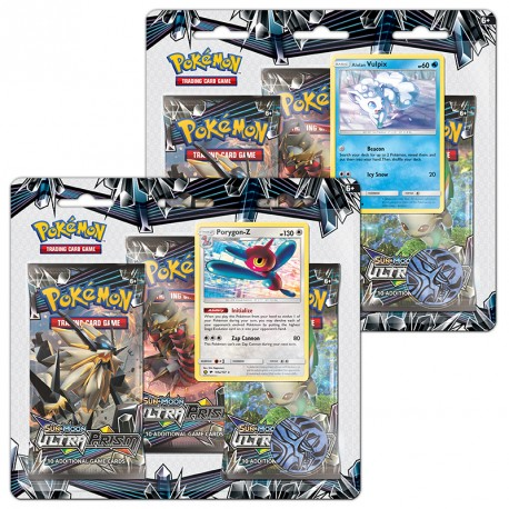Pokemon - SM5 Ultra Prism 3 Pack Blister - Bundle (Alolan Vulpix + Porygon-Z)