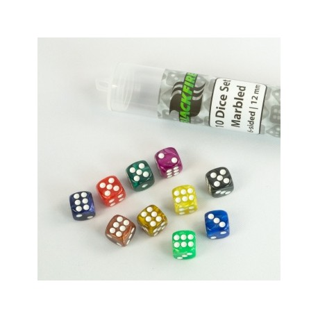Blackfire - 12mm marbled D6 in Tube (10 Dice)