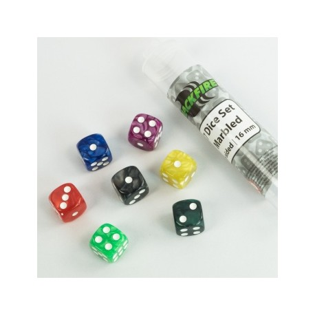 Blackfire - 16mm marbled D6 in Tube (7 Dice)