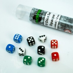 Blackfire - 12mm opaque D6 in Tube (10 Dice)