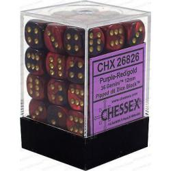 Chessex D6 Brick 12mm Gemini Dice (36) - Purple-Red / Gold