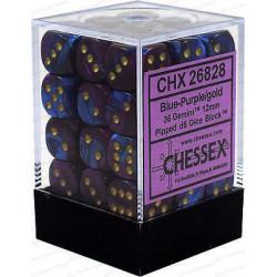 Chessex D6 Brick 12mm Gemini Dice (36) - Blue-Purple / Gold