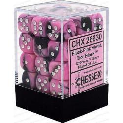 Chessex D6 Brick 12mm Gemini Dice (36) - Black-Pink / White