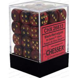 Chessex D6 Brick 12mm Gemini Dice (36) - Black-Red / Gold