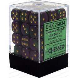 Chessex D6 Brick 12mm Gemini Dice (36) - Green-Purple / Gold