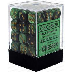 Chessex D6 Brick 12mm Gemini Dice (36) - Black-Green / Gold