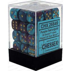 Chessex D6 Brick 12mm Gemini Dice (36) - Purple-Teal / Gold