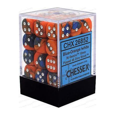 Chessex D6 Brick 12mm Gemini Dice (36) - Blue-Orange / White