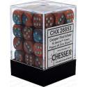 Chessex D6 Brick 12mm Gemini Dice (36) - Copper-Teal / Silver