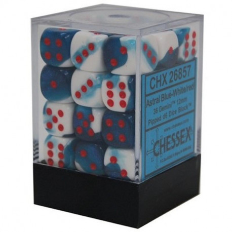 Chessex D6 Brick 12mm Gemini Dice (36) - Astral Blue-White / Red