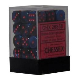 Chessex D6 Brick 12mm Gemini Dice (36) - Black-Starlight / Red