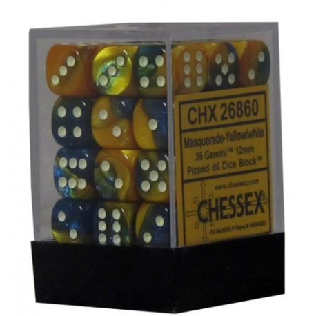 Chessex D6 Brick 12mm Gemini Dice (36) - Masquerade-Yellow / White