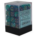 Chessex D6 Brick 12mm Gemini Dice (36) - Blue-Teal / Gold