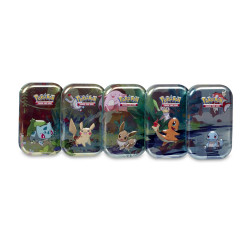 Pokemon - Kanto Friends Mini Tin - Set (Pikachu + Eevee + Bulbasaur + Charmander + Squirtle)