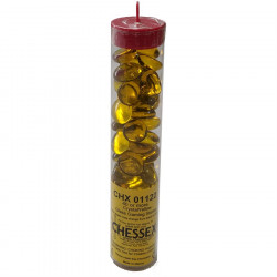Chessex - Glass Gaming Stones Tube (40+) - Crystal Yellow