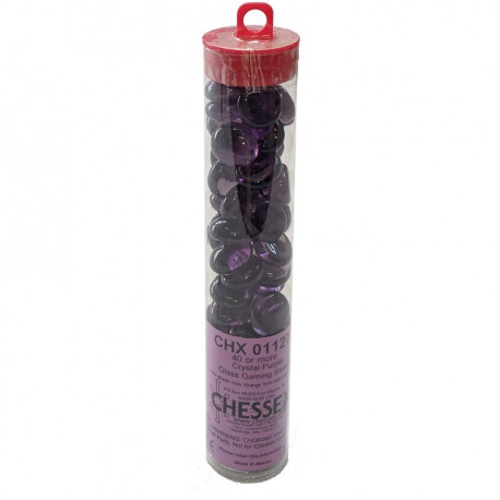 Chessex - Glass Gaming Stones Tube (40+) - Crystal Purple