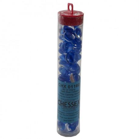 Chessex - Glass Gaming Stones Tube (40+) - Dark Blue Catseye
