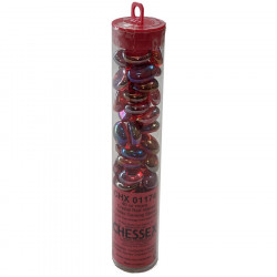 Chessex - Glass Gaming Stones Tube (40+) - Crystal Red Iridized