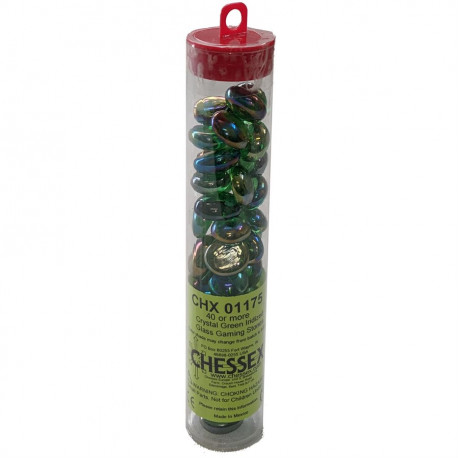 Chessex - Glass Gaming Stones Tube (40+) - Crystal Green Iridized