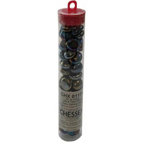 Chessex - Glass Gaming Stones Tube (40+) - Black Opal Iridized