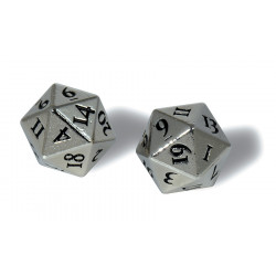 Ultra Pro - Heavy Metal D20 2-Dice Set - Chrome