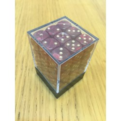 D6 Brick 12mm Glitter Dice (36) - Red