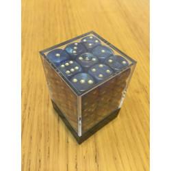D6 Brick 12mm Glitter Dice (36) - Blue