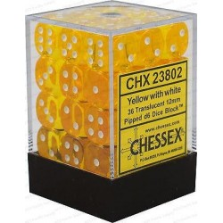 Chessex D6 Brick 12mm Translucide Dice (36) - Yellow