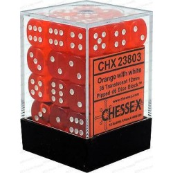 Chessex D6 Brick 12mm Translucide Dice (36) - Orange